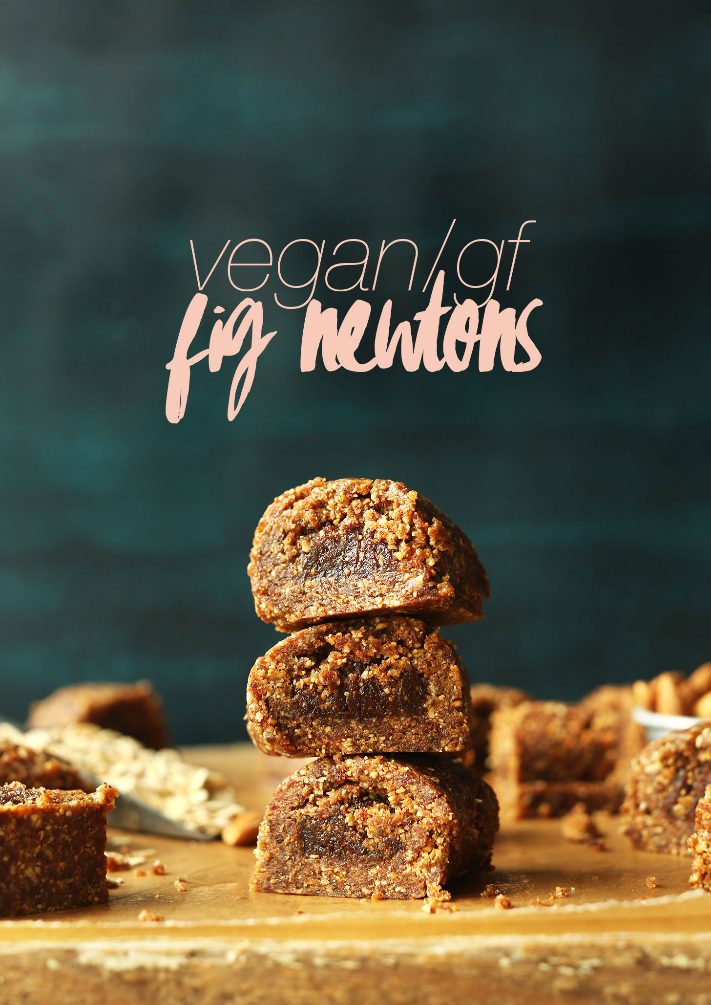 Stack of homemade no-bake gluten-free fig newtons