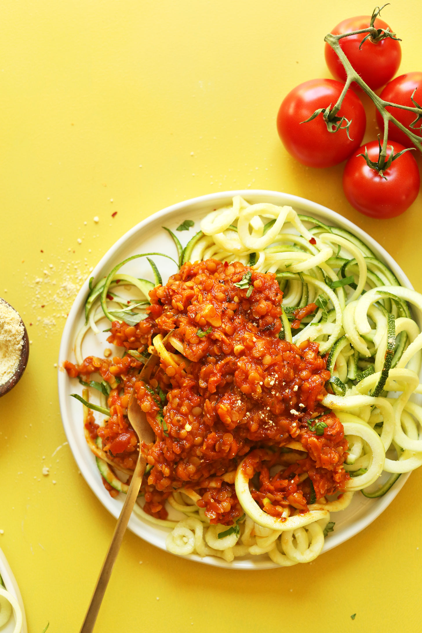 Zucchini Pasta with Vegan Lentil Red Sauce for a healthy weeknight plant-based meal