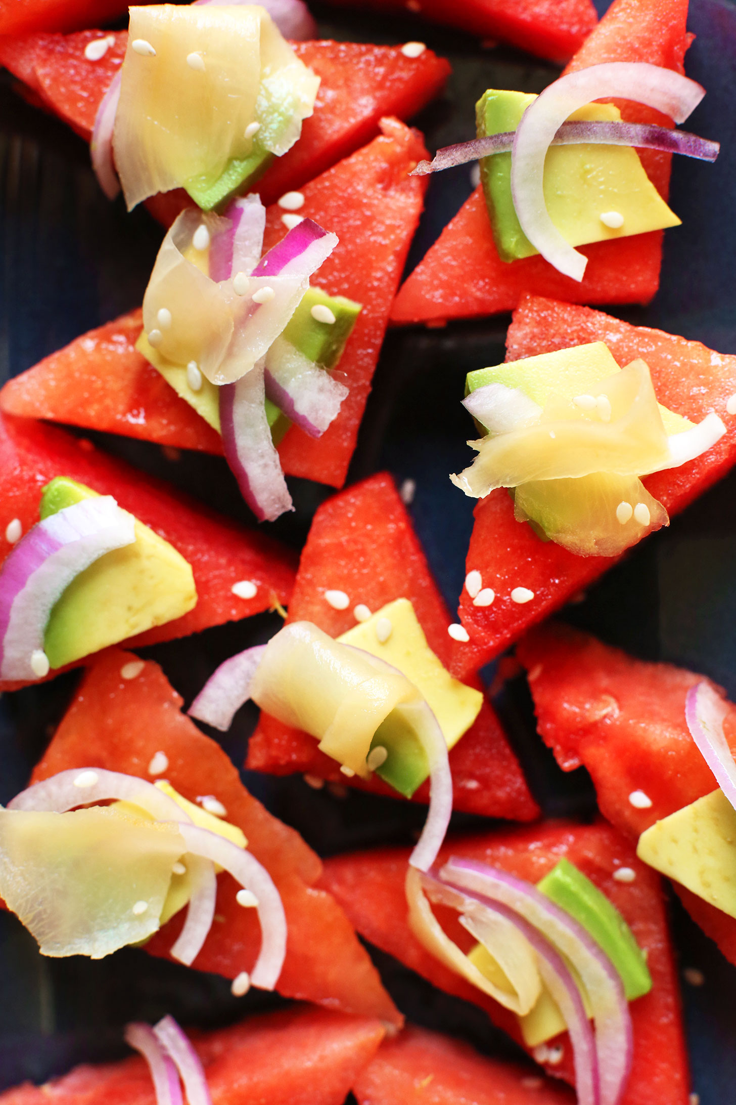 Platter with amazing Watermelon Sashimi for a plant-based appetizer recipe