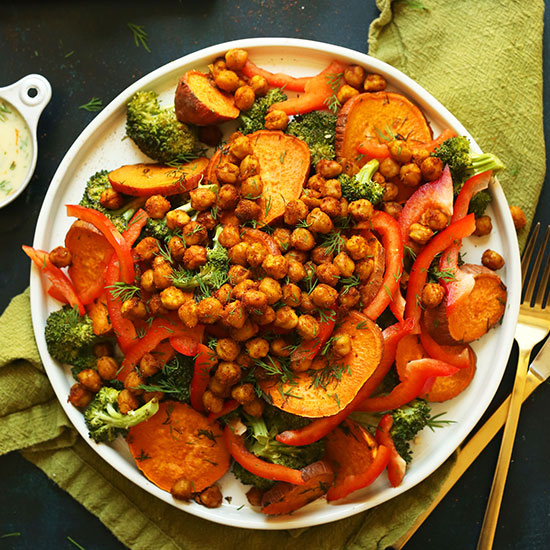 Big plate filled with our Roasted Broccoli Sweet Potato Chickpea Salad