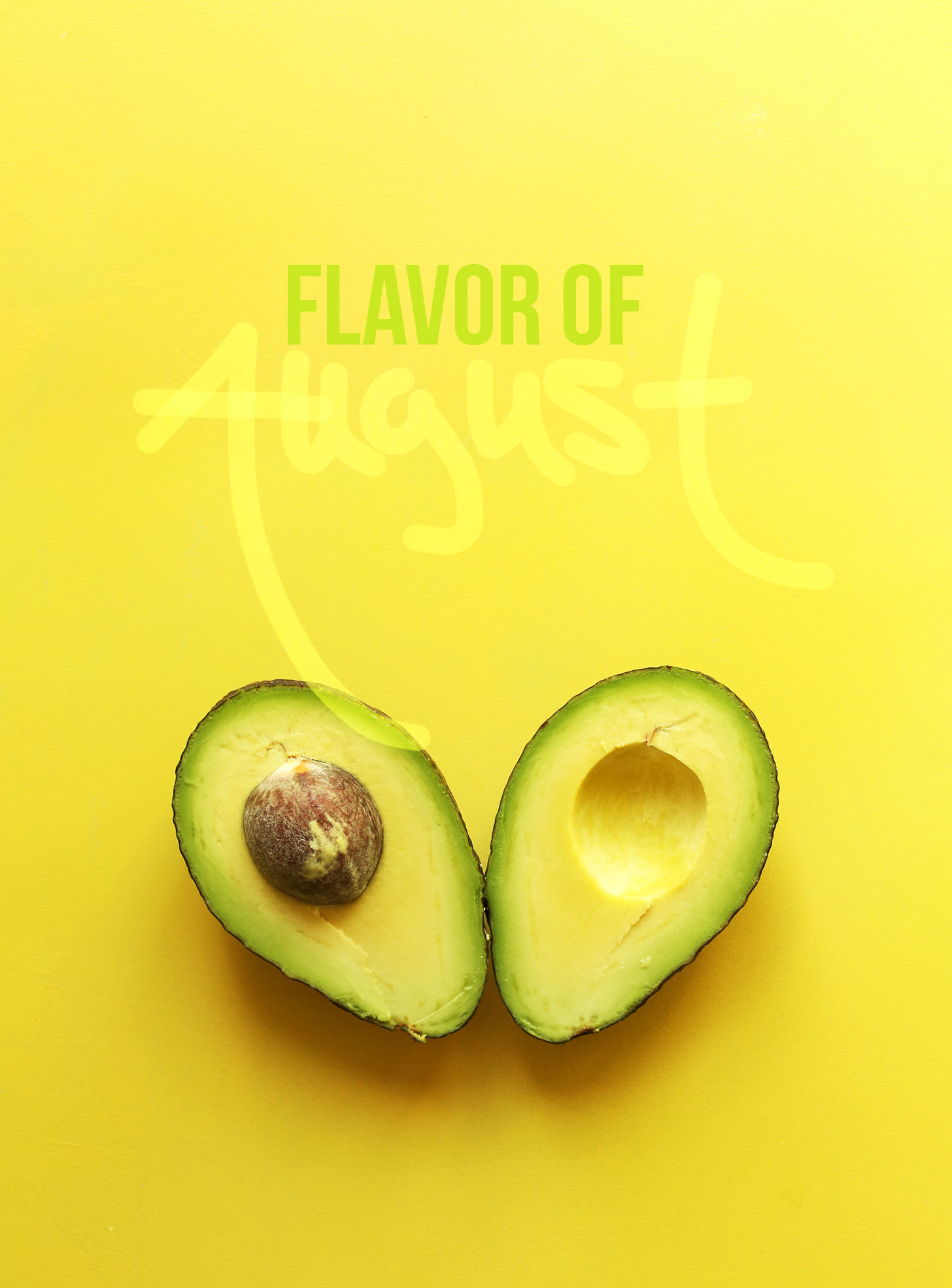 Picture of a halved avocado to represent our Flavor of August
