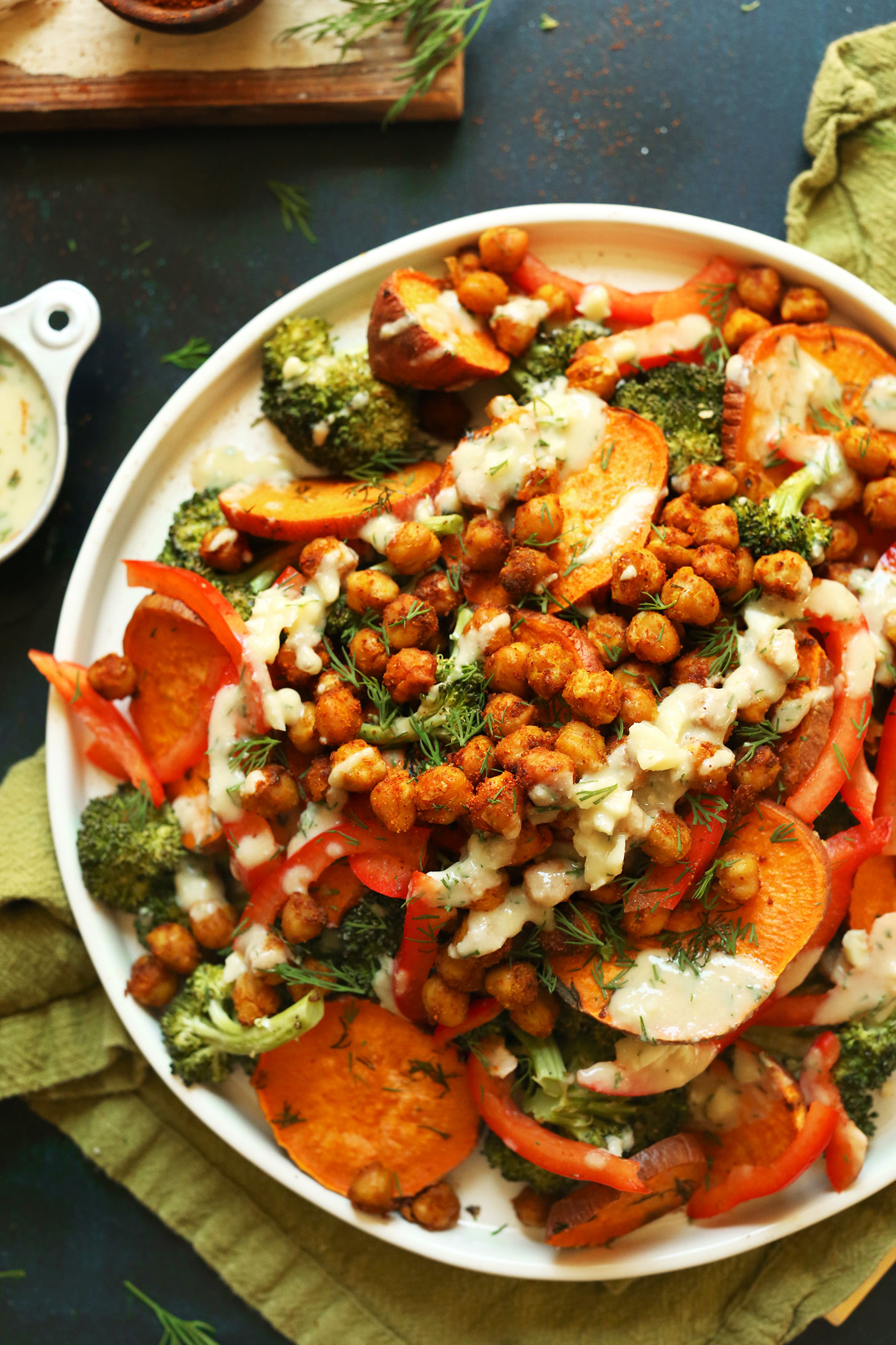Plate of our Broccoli Sweet Potato Chickpea Salad recipe for a healthy plant-based meal