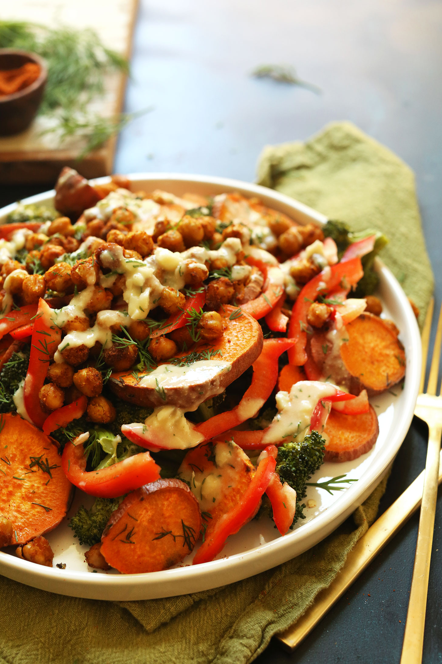 Close up shot of our 30-minute Broccoli Sweet Potato Chickpea Salad for a weeknight vegan meal
