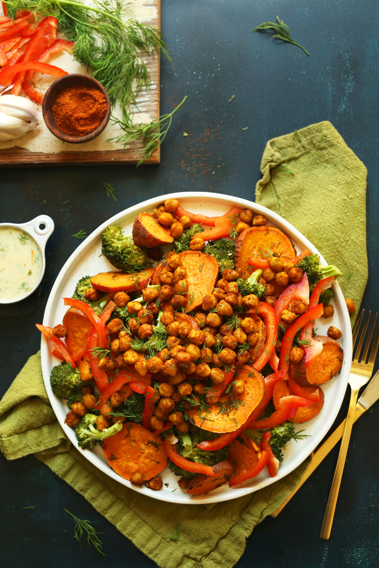 A big serving of our Savory Broccoli Sweet Potato Chickpea Salad for a gluten-free plant-based meal
