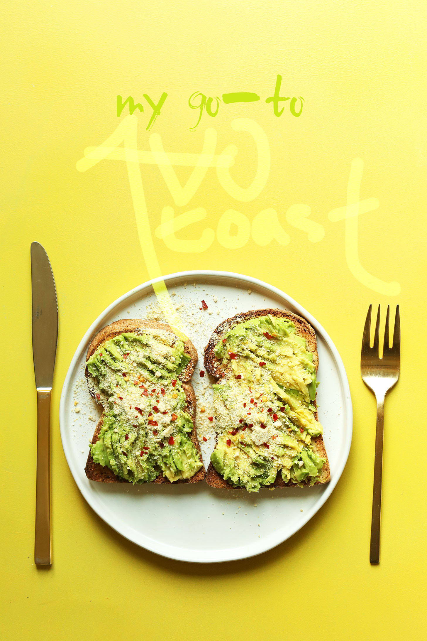 Two slices of my go-to gluten-free vegan avocado toast recipe for a simple breakfast