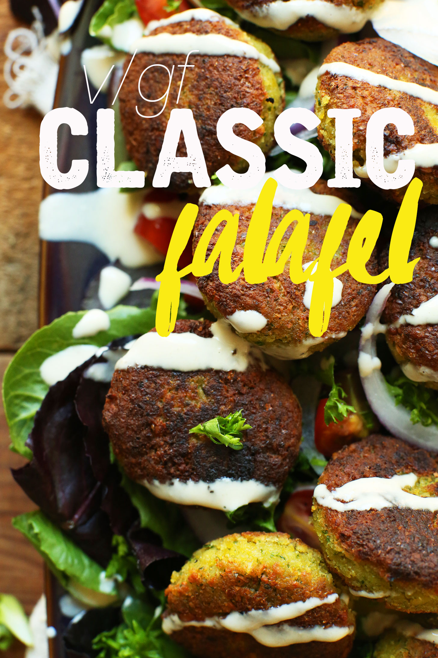 Our Classic Vegan Falafel recipe atop fresh lettuce leaves for a protein-packed lunch