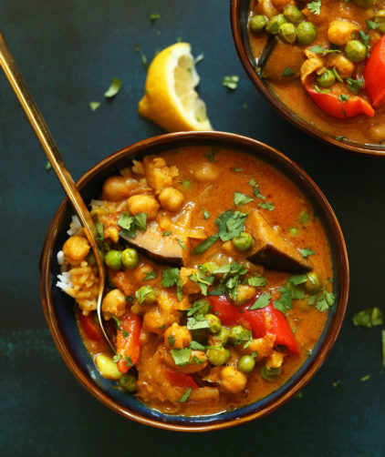 Bowl of our simple, flavorful vegan Coconut Red Chickpea Curry