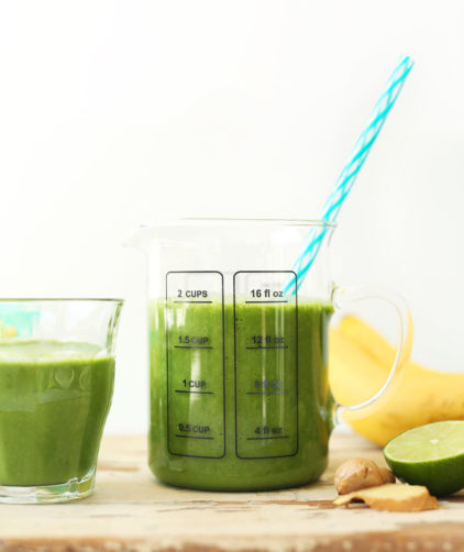 Glasses of the best gluten-free vegan green smoothie recipe