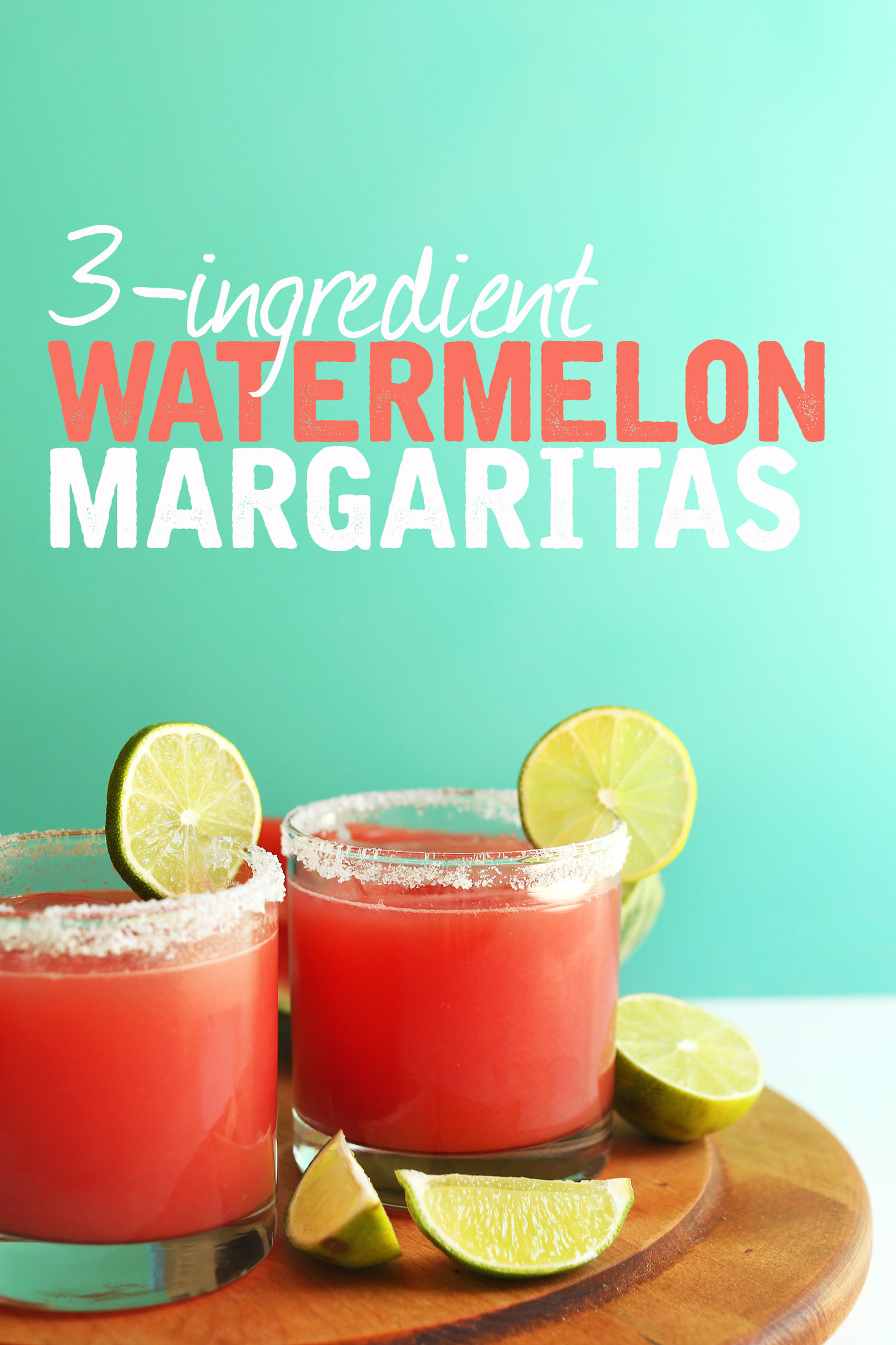 Glasses of Watermelon Margaritas for an easy vegan summer drink recipe