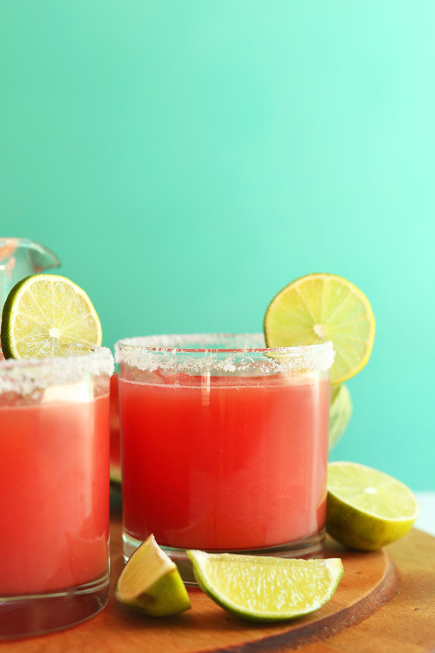 Glasses of our vegan watermelon margaritas for a summer drink recipe