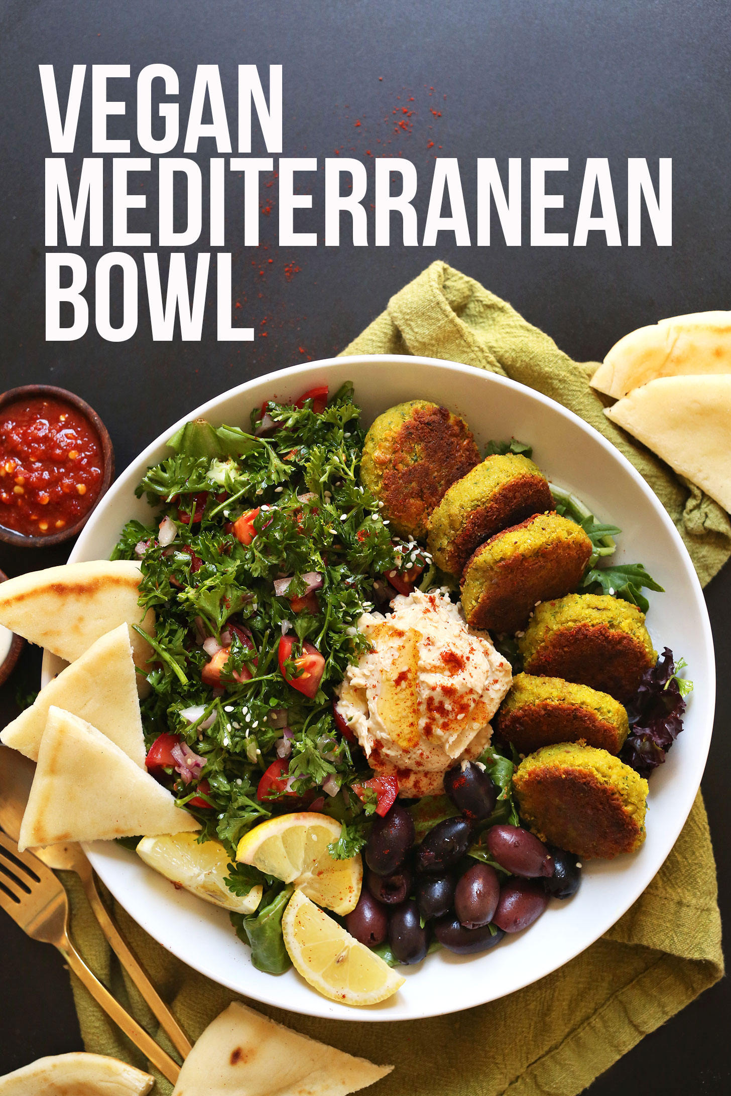 Serving of our Vegan Mediterranean Bowl recipe for a healthy plant-based dinner