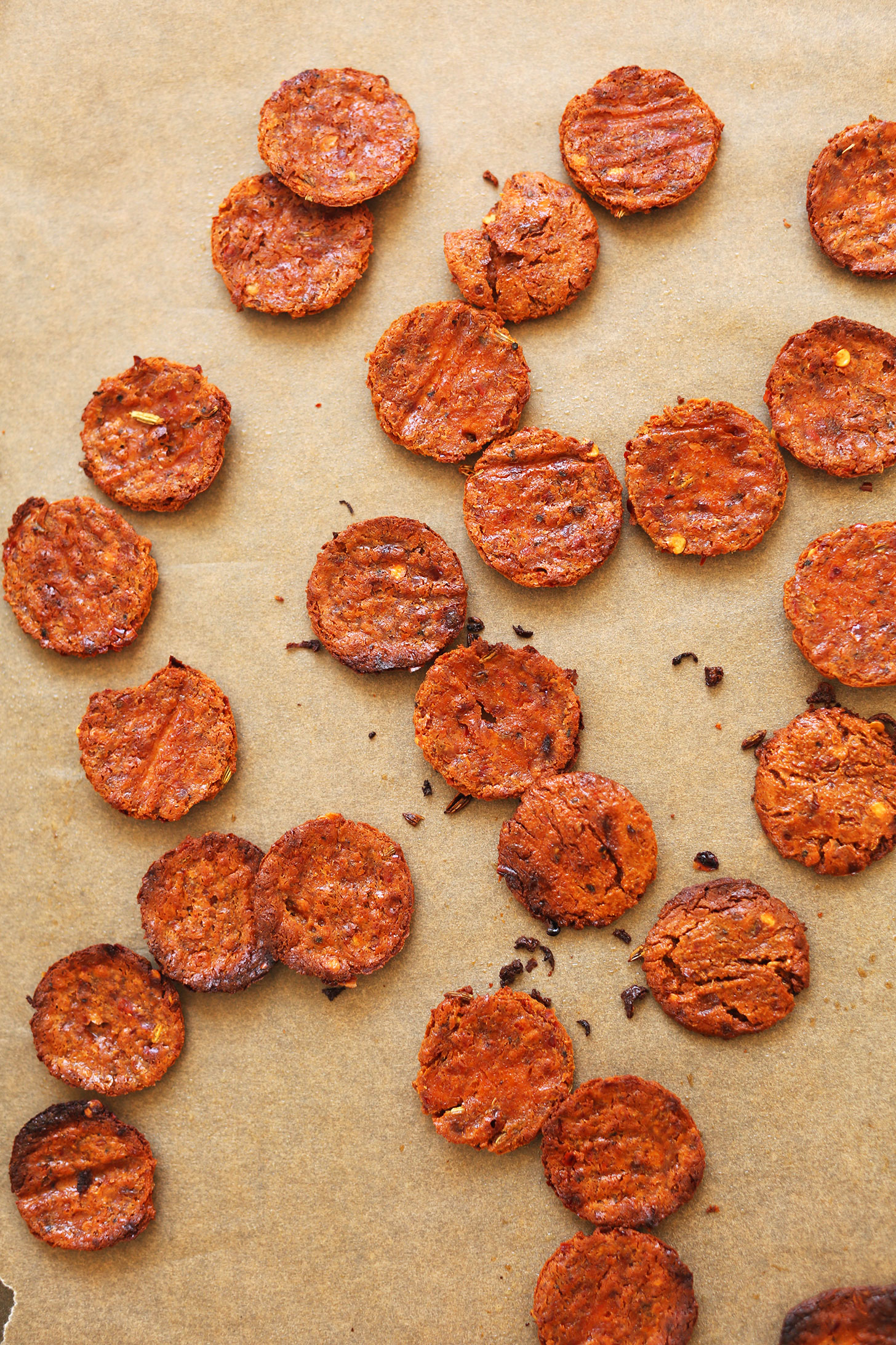 Freshly baked circles of vegan pepperoni