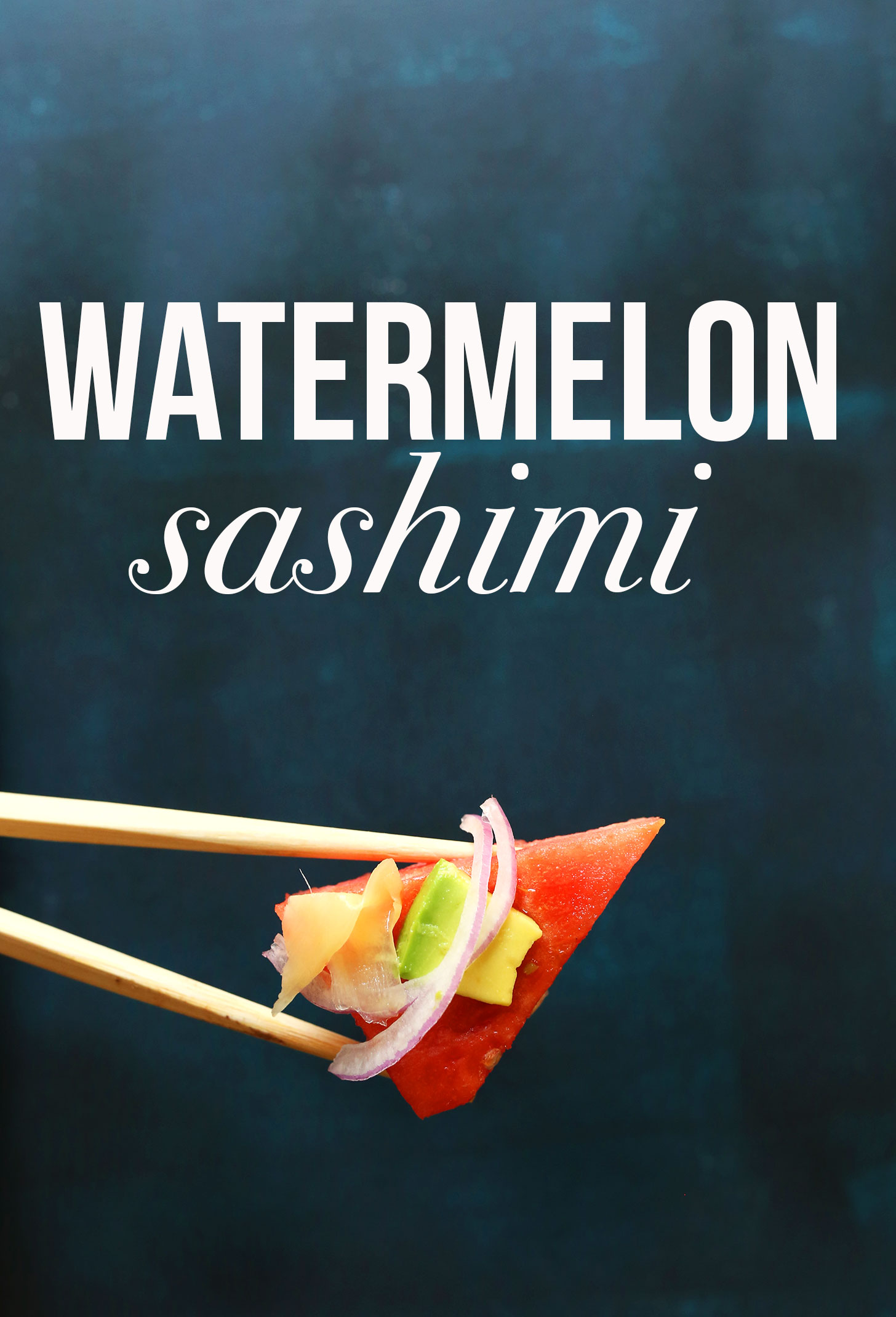 Using chopsticks to pick up a piece of vegan Watermelon Sashimi