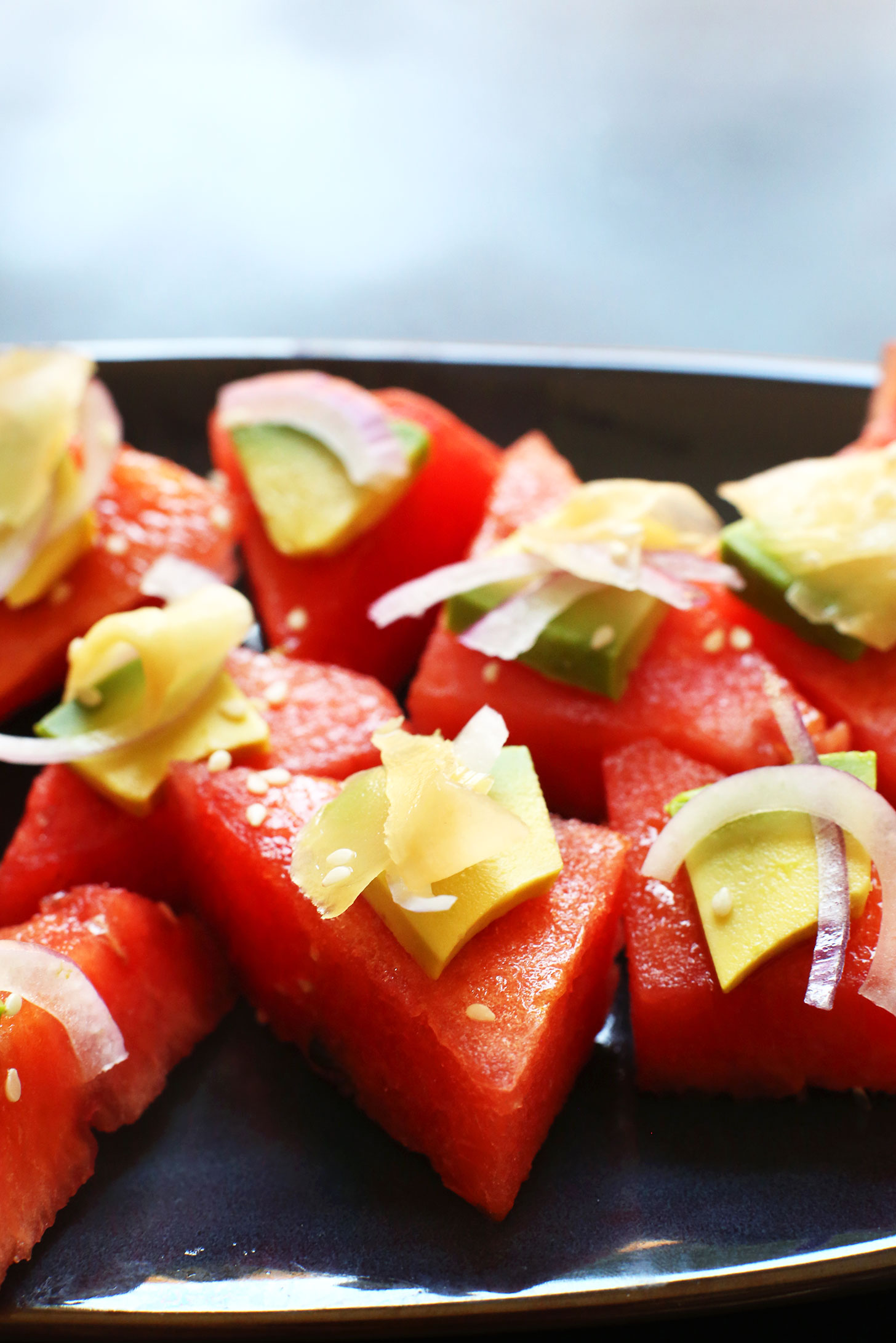 Plate of Watermelon Sashimi for a summertime vegan appetizer