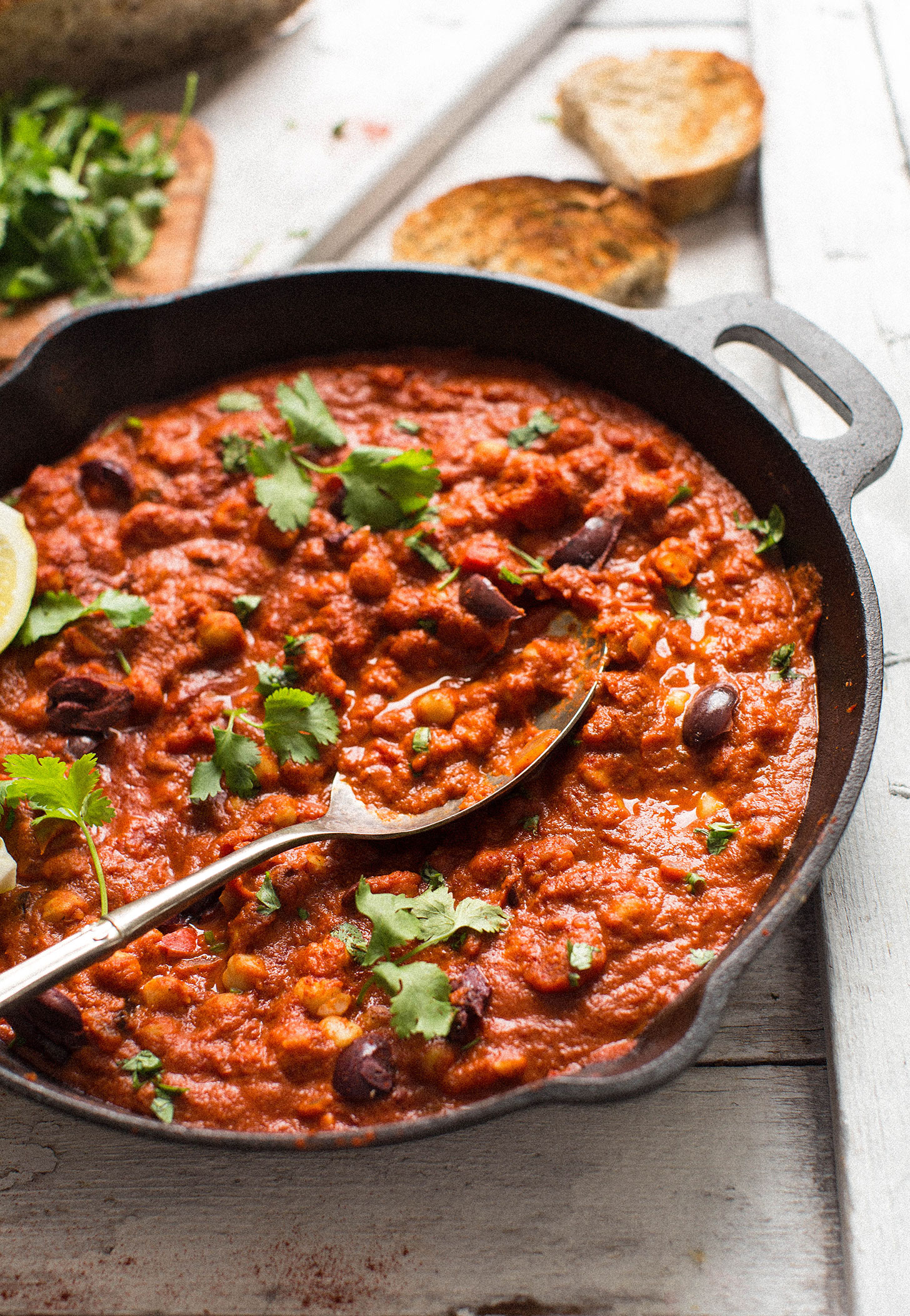 Skillet of Chickpea Shakshuka loaded with gluten-free plant-based protein