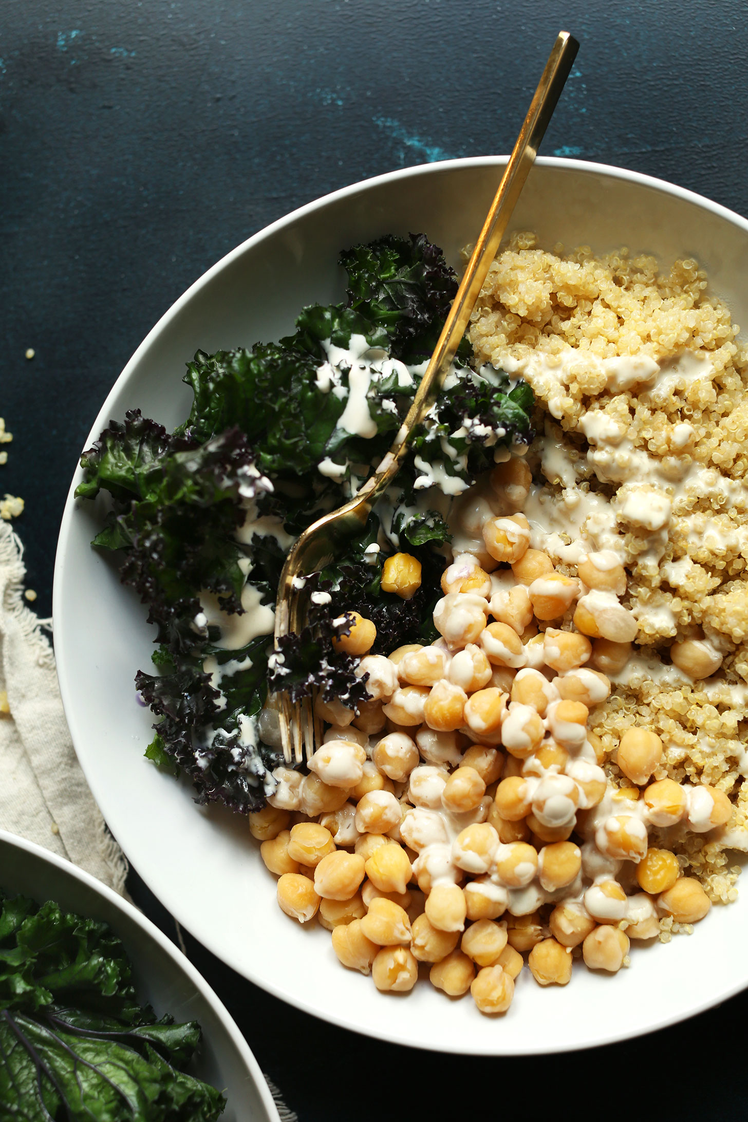 Our Quinoa Chickpea Buddha Bowl recipe ready to be devoured for a quick plant-based dinner