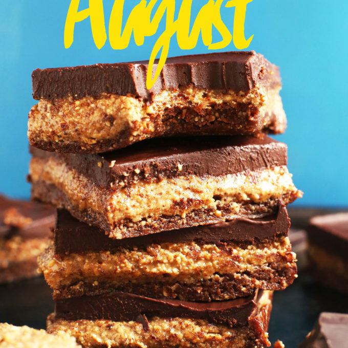 Stack of Chocolate Almond Butter Bars for our Best of August post