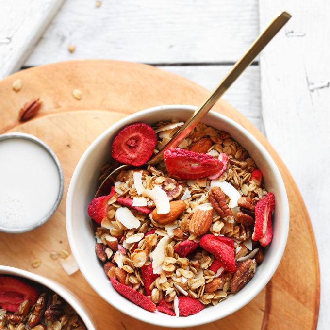 Bowls of our naturally-sweetened gluten-free Coconut Strawberry Granola recipe