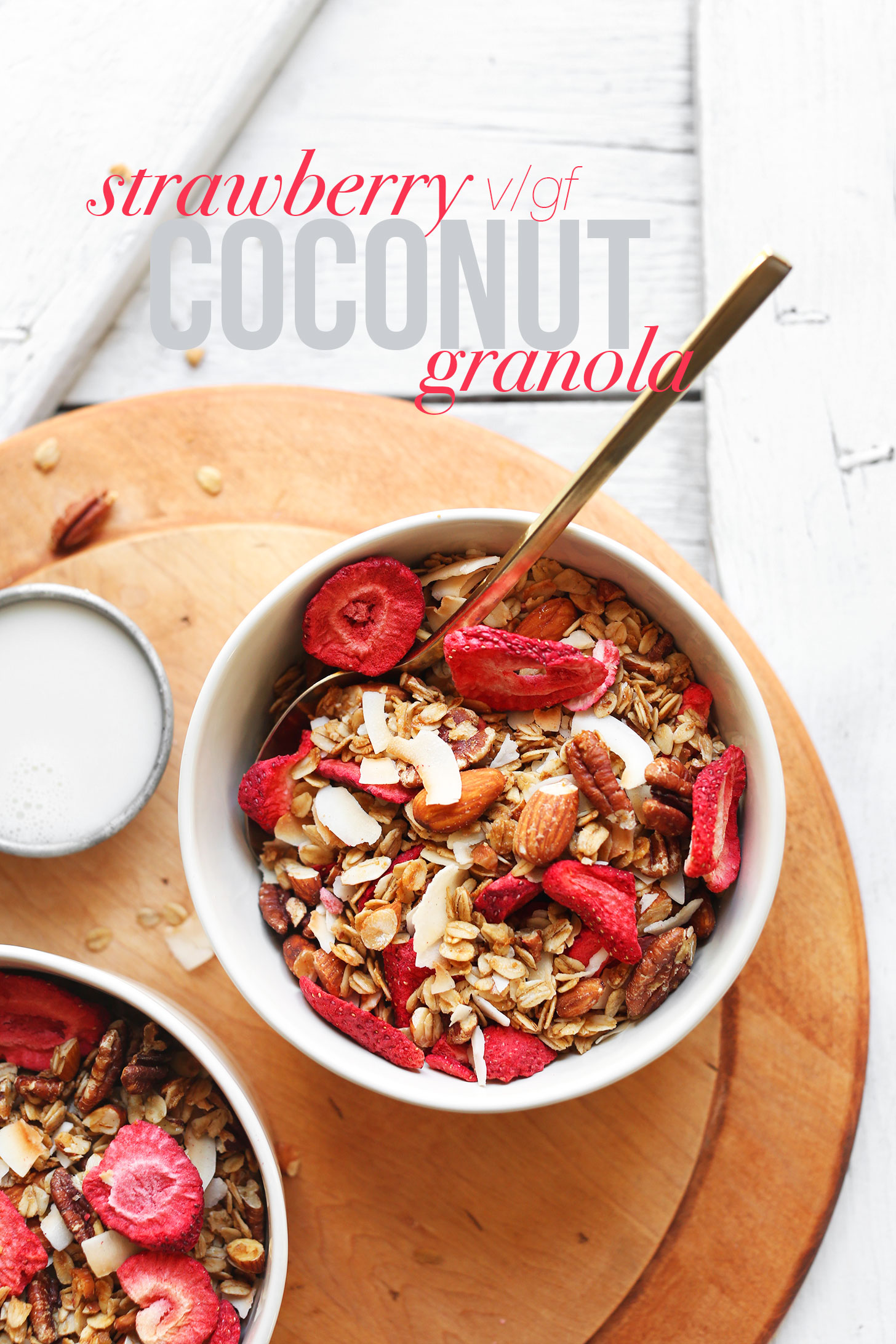 Bowls of our gluten-free vegan Coconut Strawberry Granola for breakfast