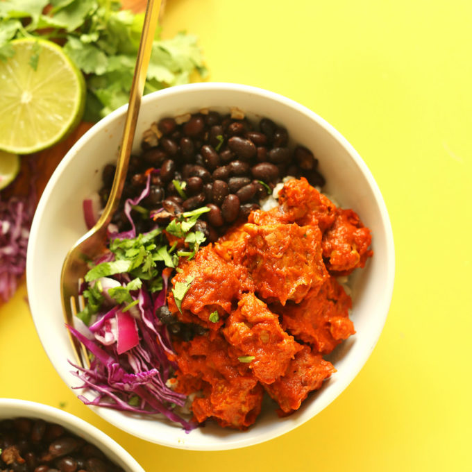 A serving of our Smoky Tempeh Burrito Bowl recipe