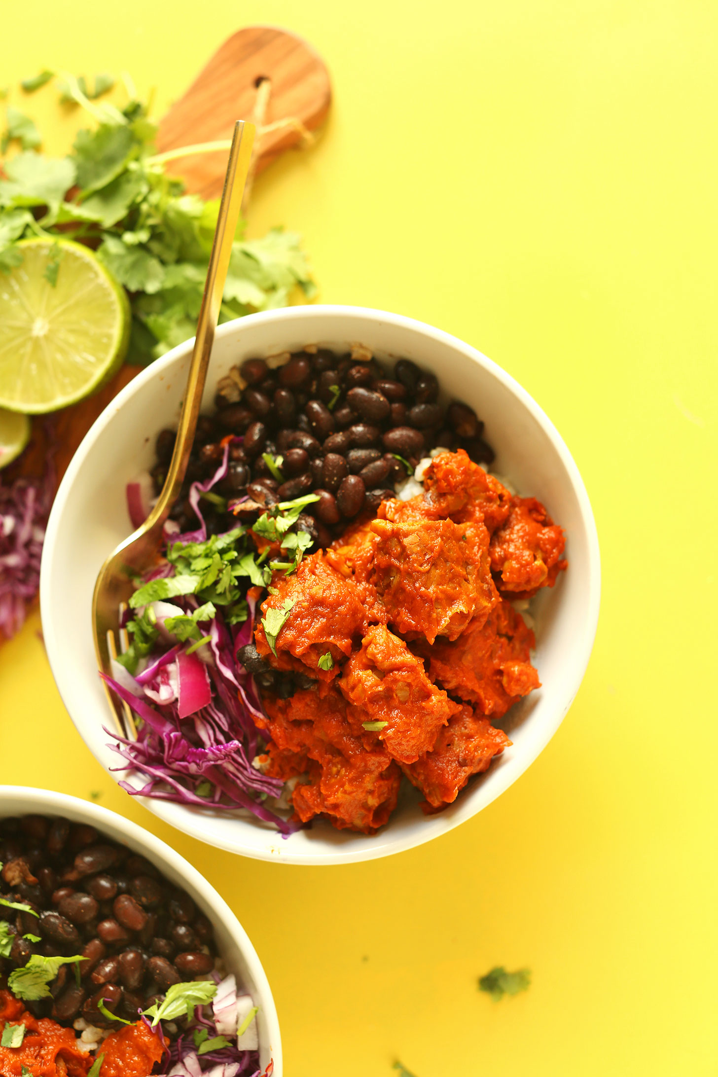 Two Smoky Tempeh Burrito Bowls for a plant-based mexican meal