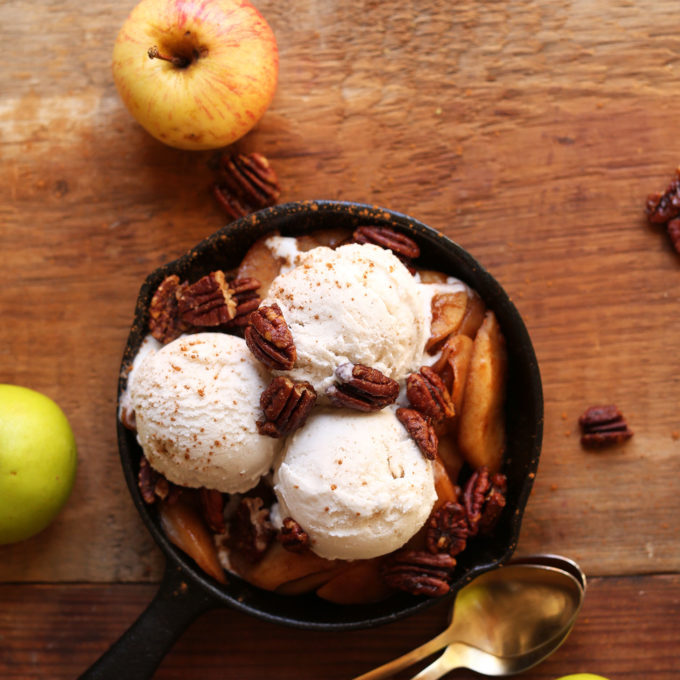 Cast iron skillet filled with our gluten-free vegan Apple Pie Sundae recipe