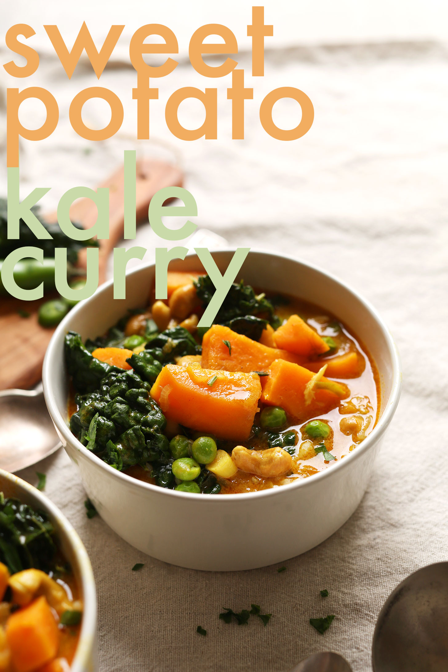 Bowl of our gluten-free Sweet Potato Kale Curry for healthy plant-based meal
