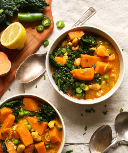 Bowls of our Sweet Potato Kale Curry for an easy protein-rich vegan meal