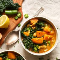 Bowls of Gluten-Free Vegan Sweet Potato Kale Curry
