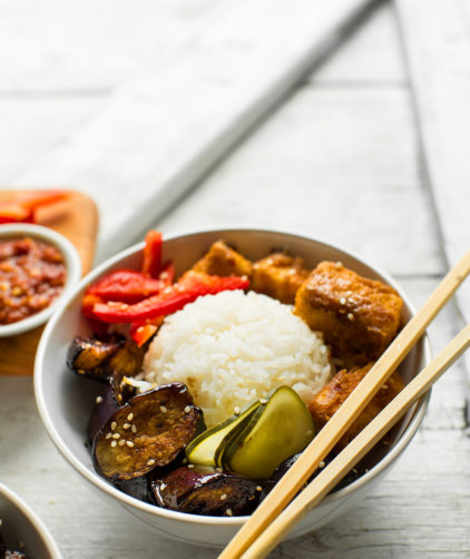 Bowl of 30-minute Sesame Eggplant & Almond Butter Tofu for an easy vegan meal