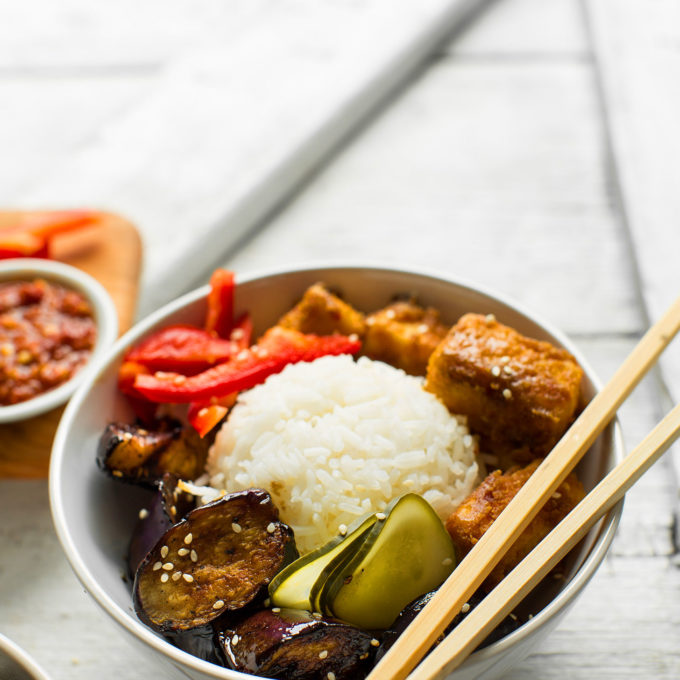 Sesame Eggplant & Almond Butter Tofu Bowls