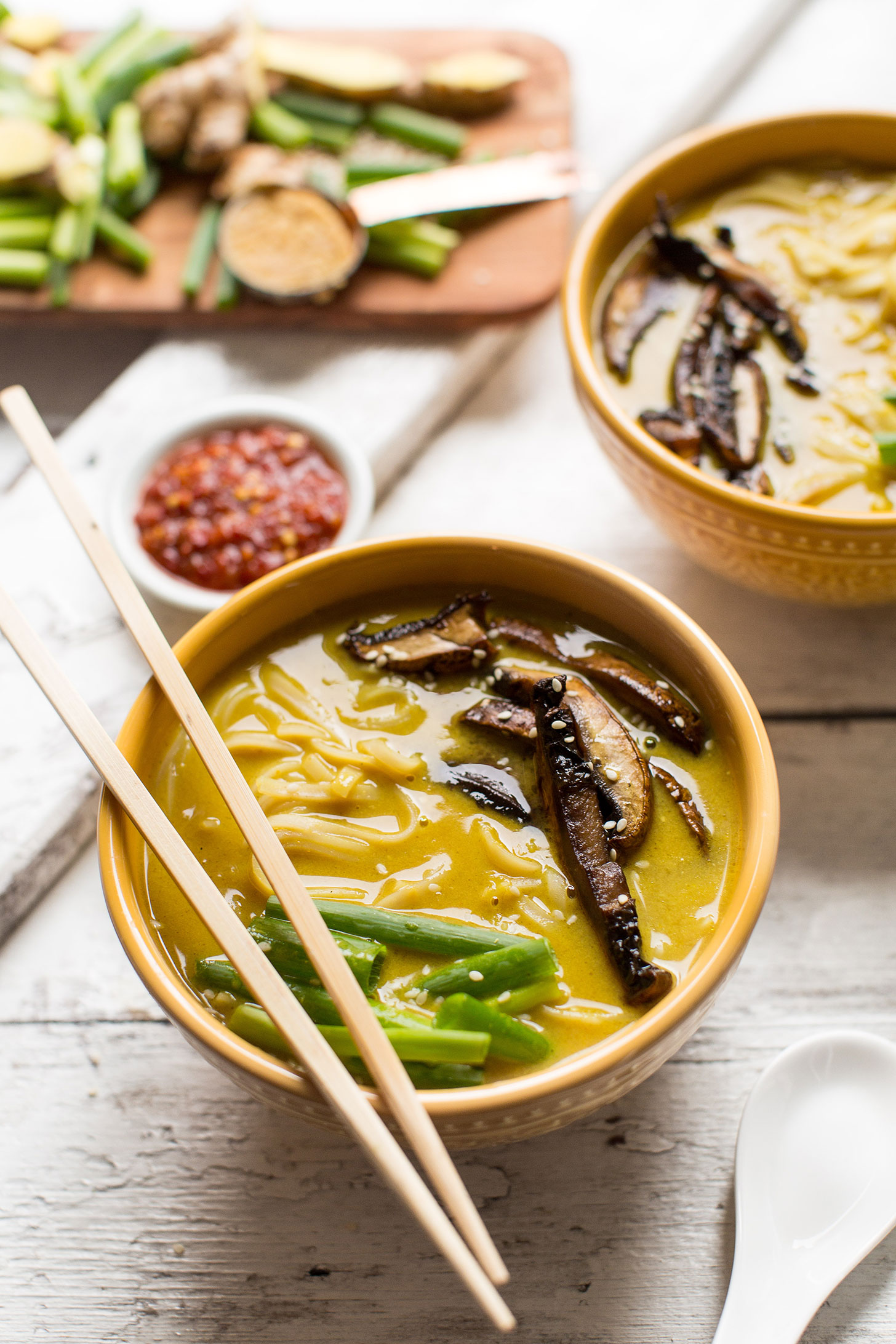 Bowl of gluten-free vegan Coconut Curry Ramen for a fast and flavorful gluten-free plant-based meal