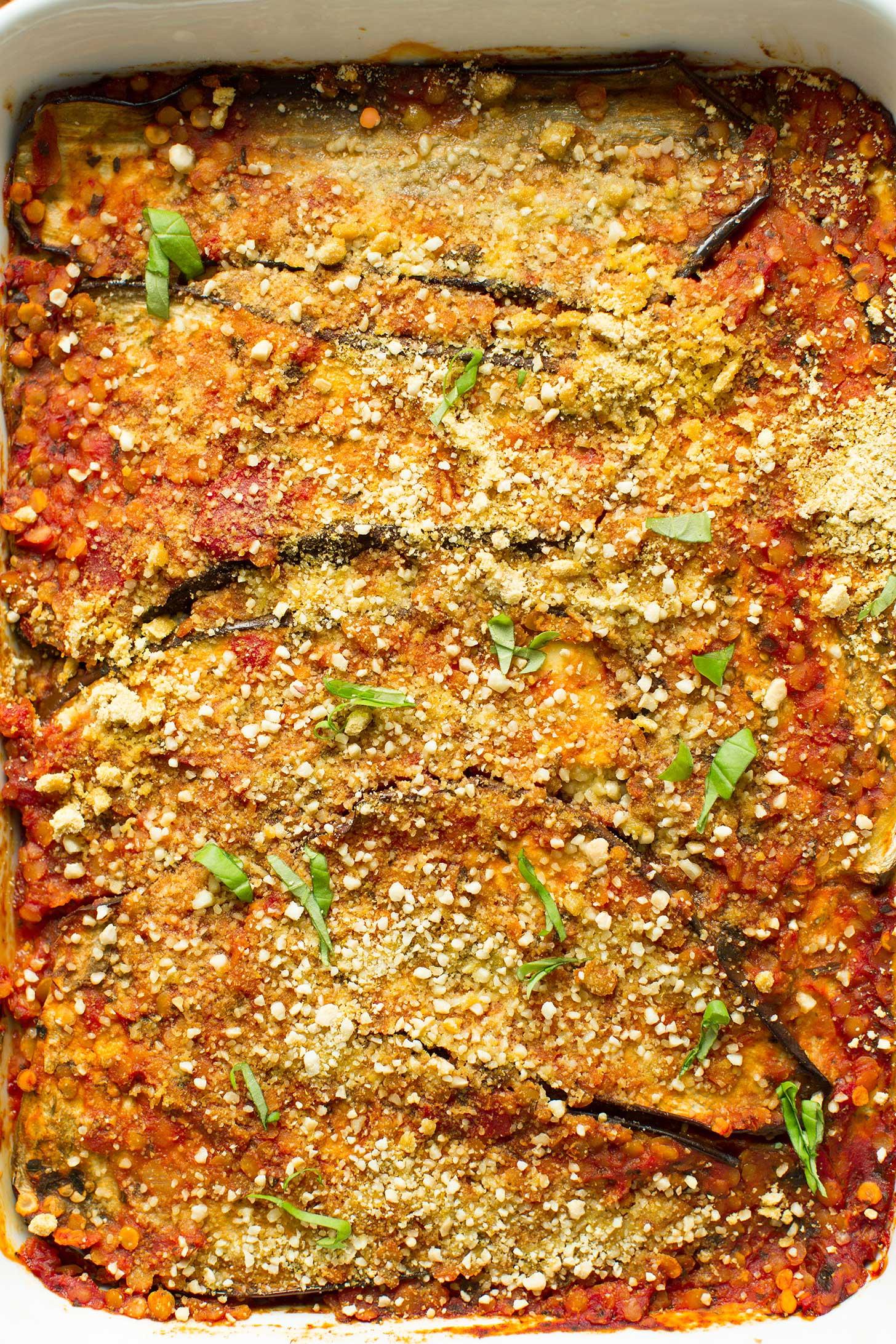 Freshly baked gluten-free vegan Eggplant Lasagna with Lentil Red Sauce