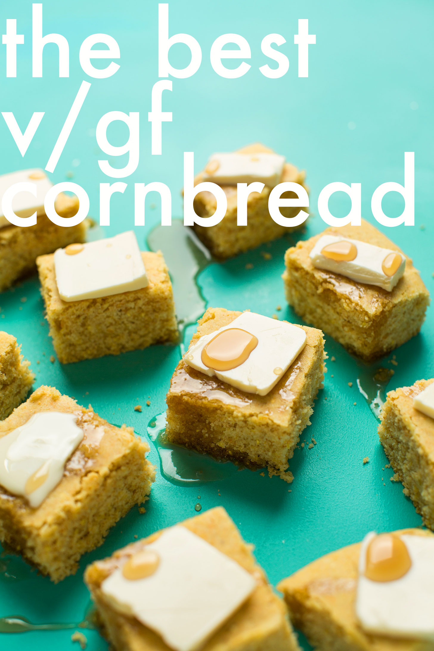 Squares of tender crumbly perfect cornbread for a gluten-free vegan fall dessert