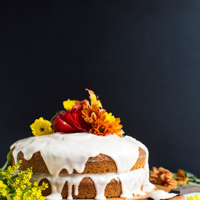 Beautifully decorated gluten-free vegan Pumpkin Cake for an autumn dessert