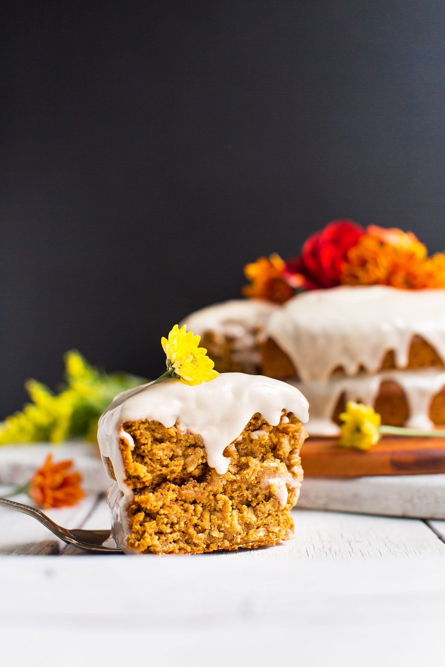 A slice of tender and flavorful Pumpkin Cake for a fall dessert recipe