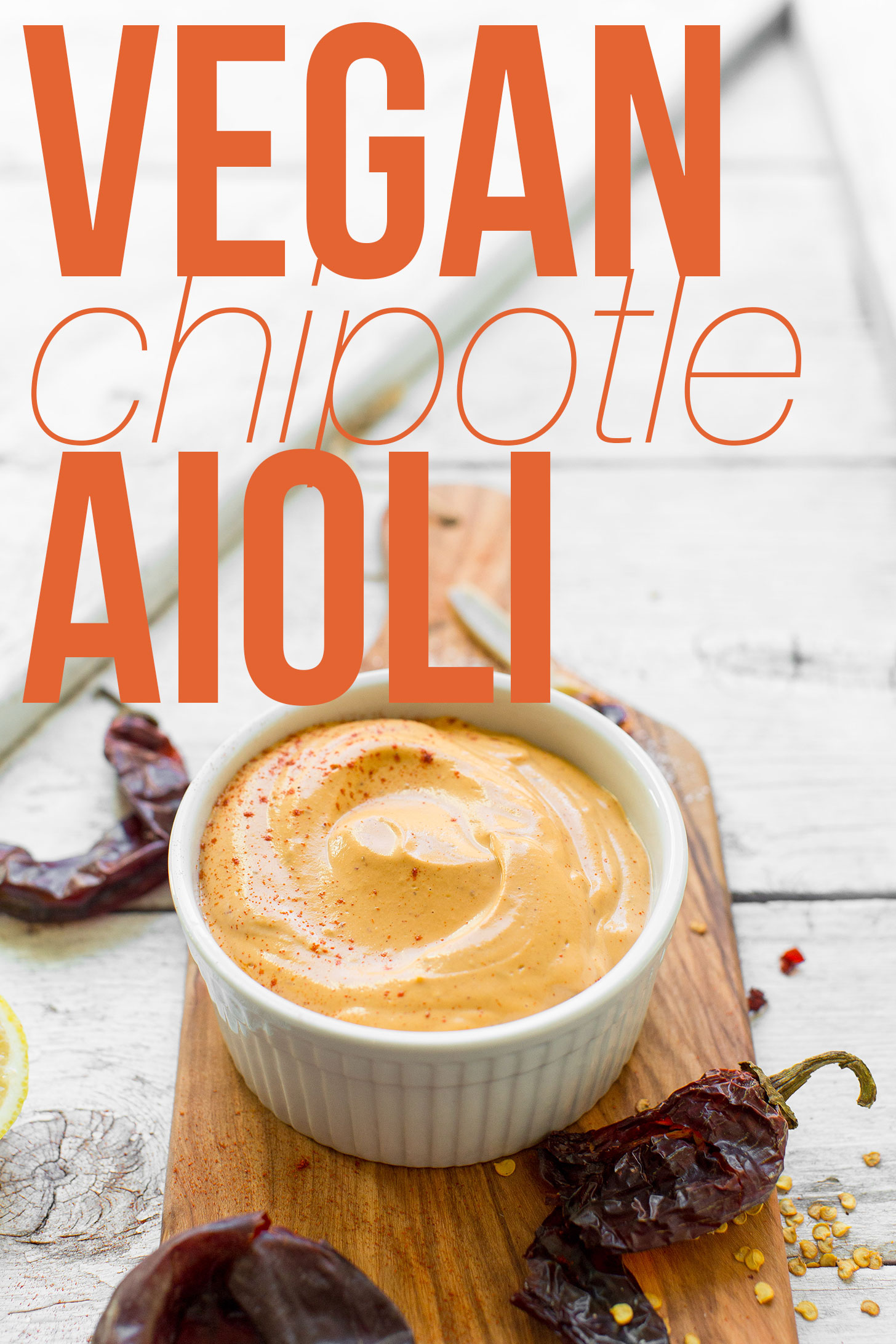 Bowl of homemade spicy vegan chipotle aioli