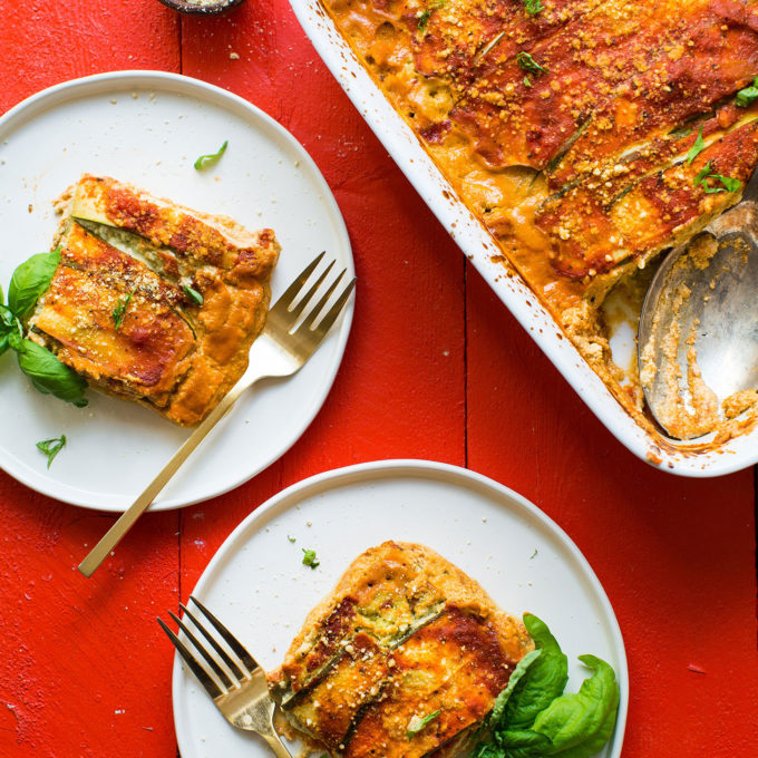Servings of our zucchini lasagna for a comforting plant-based dinner