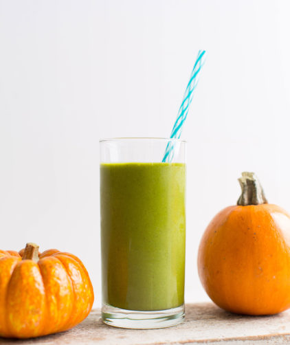 A tall glass of our gluten-free vegan healthy Pumpkin Pie Green Smoothie recipe