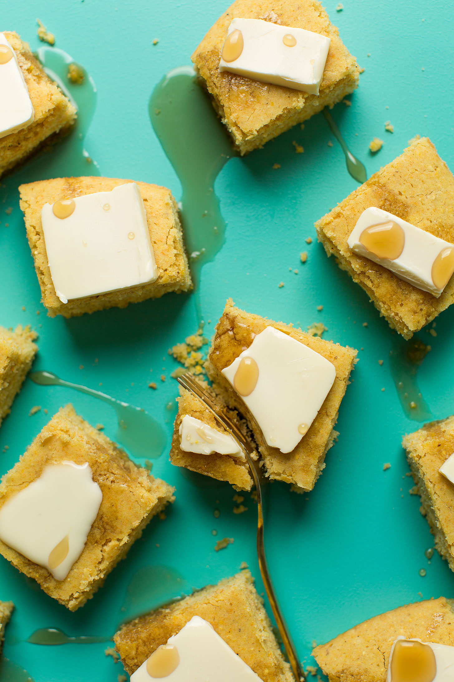 Cutting into a slice of the best vegan gluten-free cornbread