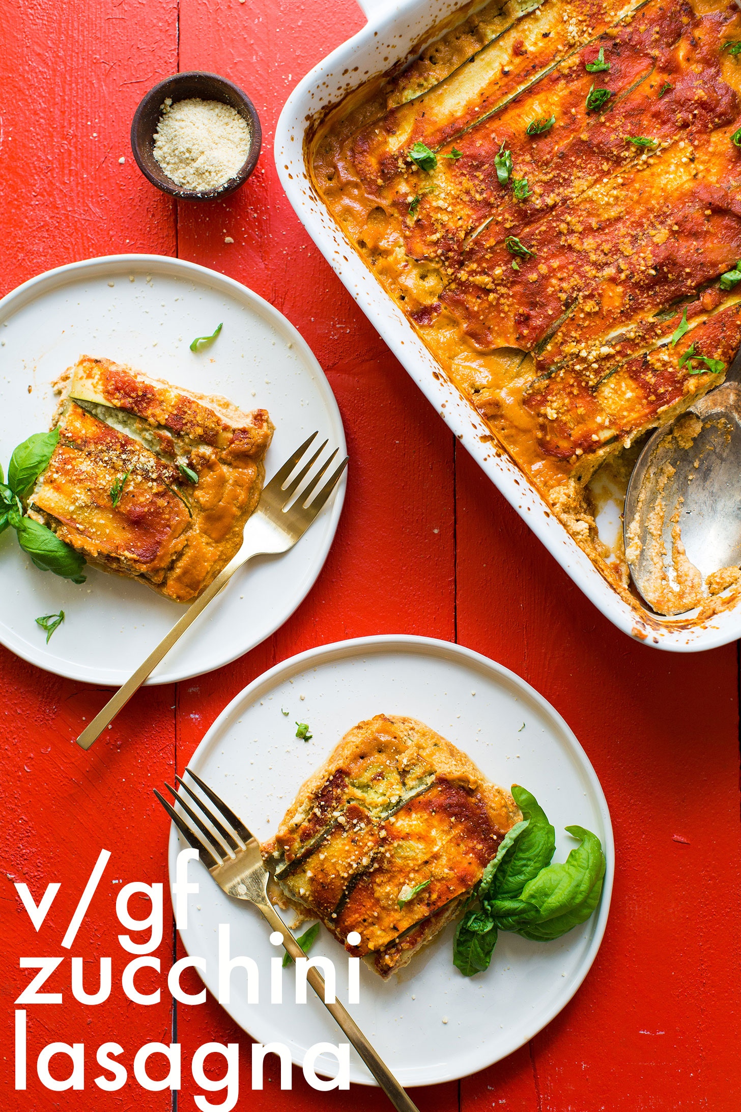 Vegan gluten free zucchini lasagna minimalist baker recipes two servings of gluten free vegan zucchini lasagna on dinner plates forumfinder