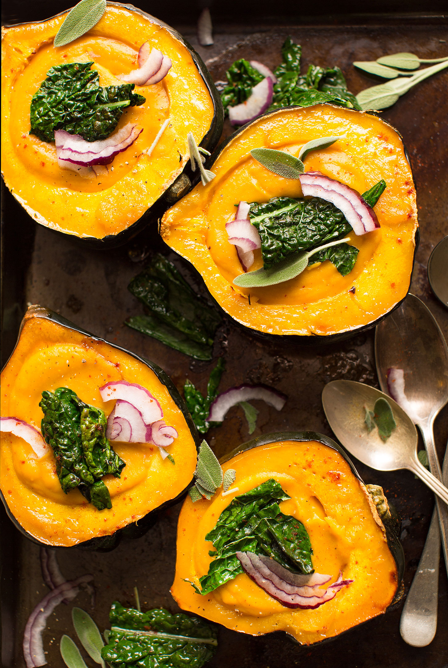Savory vegan squash soup served in beautiful acorn squash halves