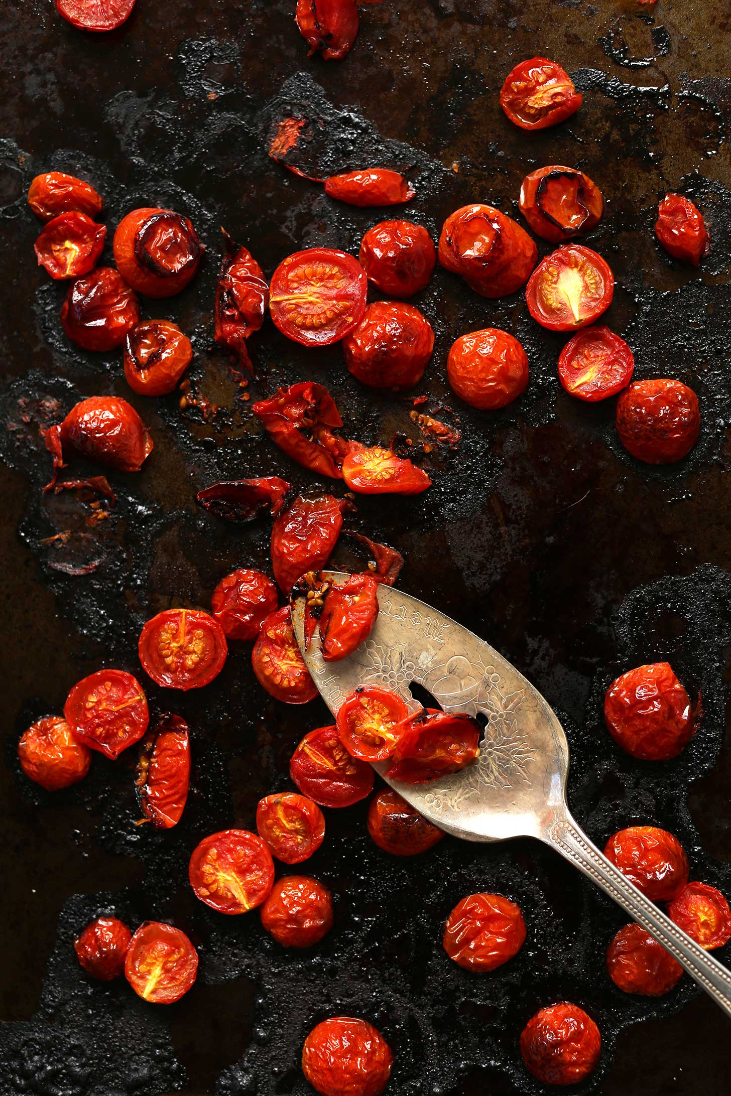 Baking sheet with freshly roasted cherry tomatoes for gluten-free pasta salad