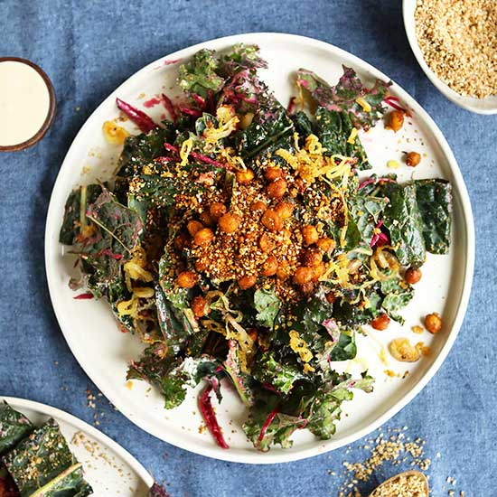 Big plate of Creamy Kale Salad made with Chickpeas & Shallots