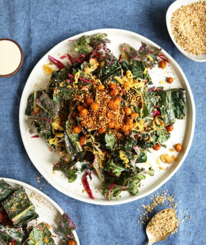 Healthy vegan gluten-free kale salad on a plate