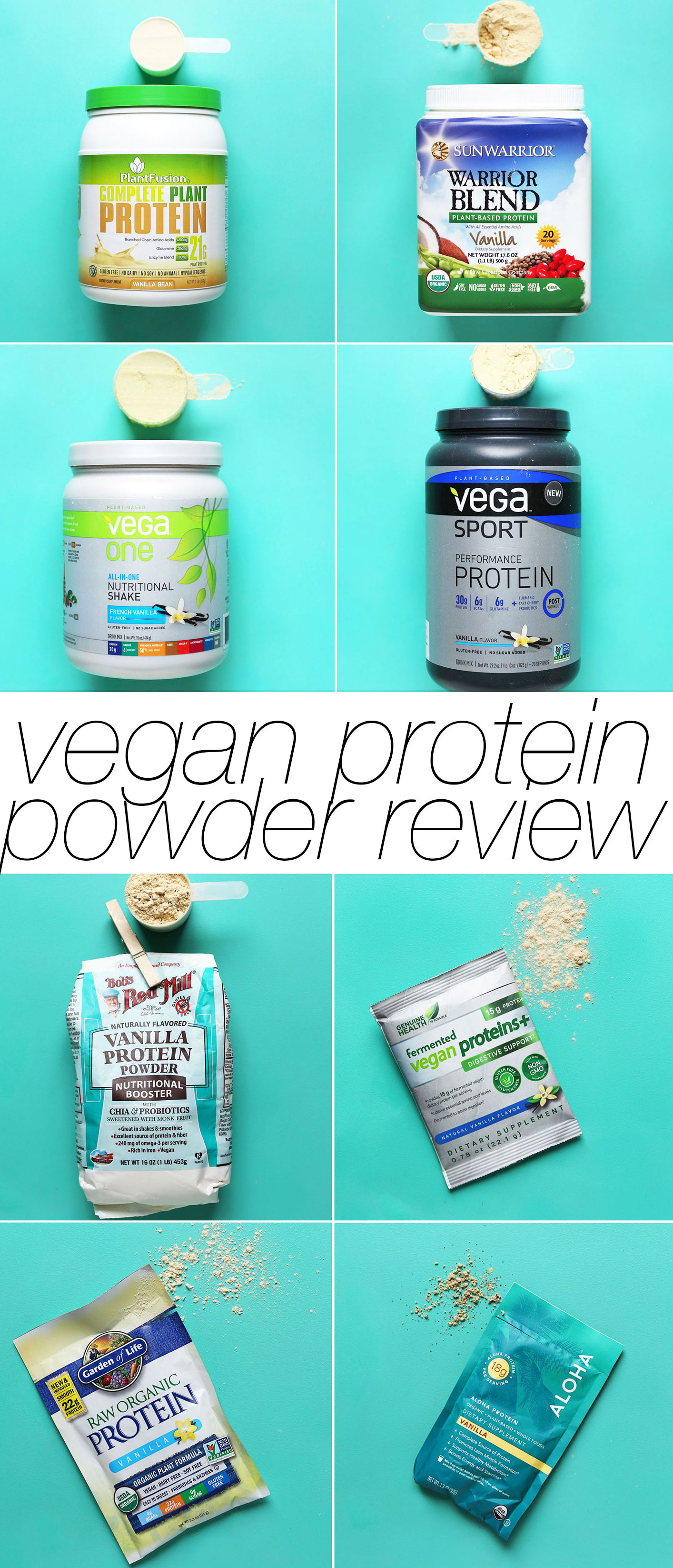 Photos of protein powders tested as part of our unbiased vegan protein powders review