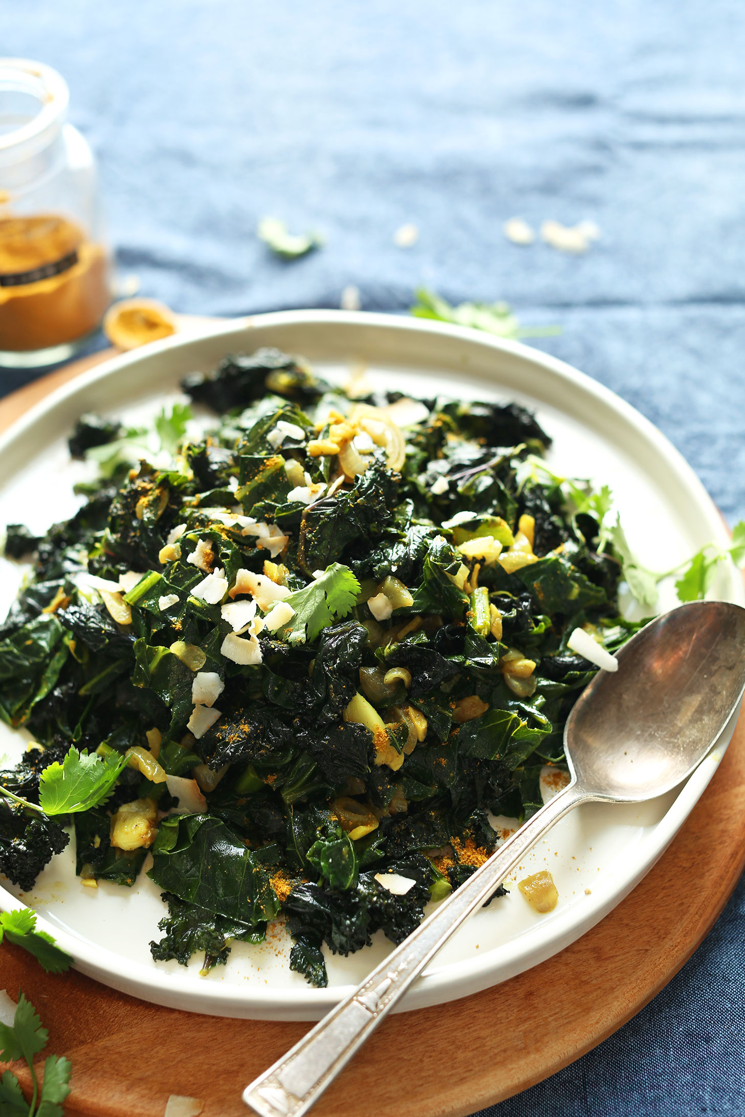 A big plate full of gluten-free vegan Coconut Curried Greens