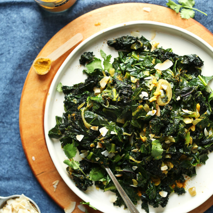 Quick and easy Coconut Curry Greens on a plate