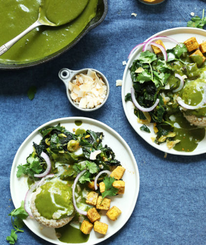 Two dinner plates filled with our healthy vegan Green Curry recipe