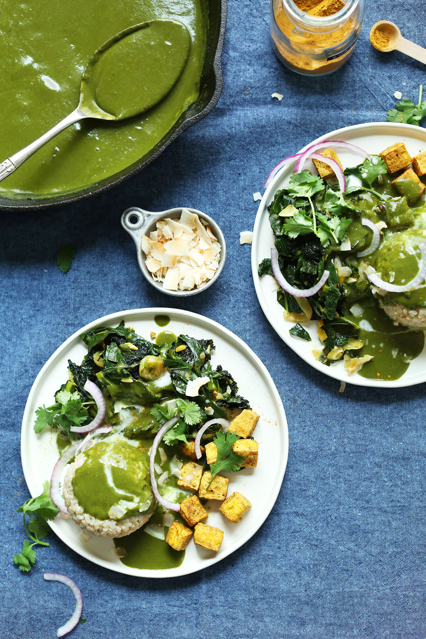 Two hearty dinner plates filled with Green Curry for a healthy plant-based meal